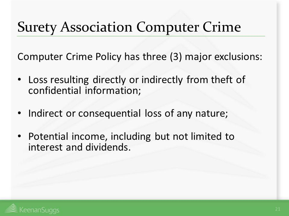 Surety Association Computer Crime Computer Crime Policy has three (3) major exclusions: Loss resulting directly or indirectly from theft of confidenti