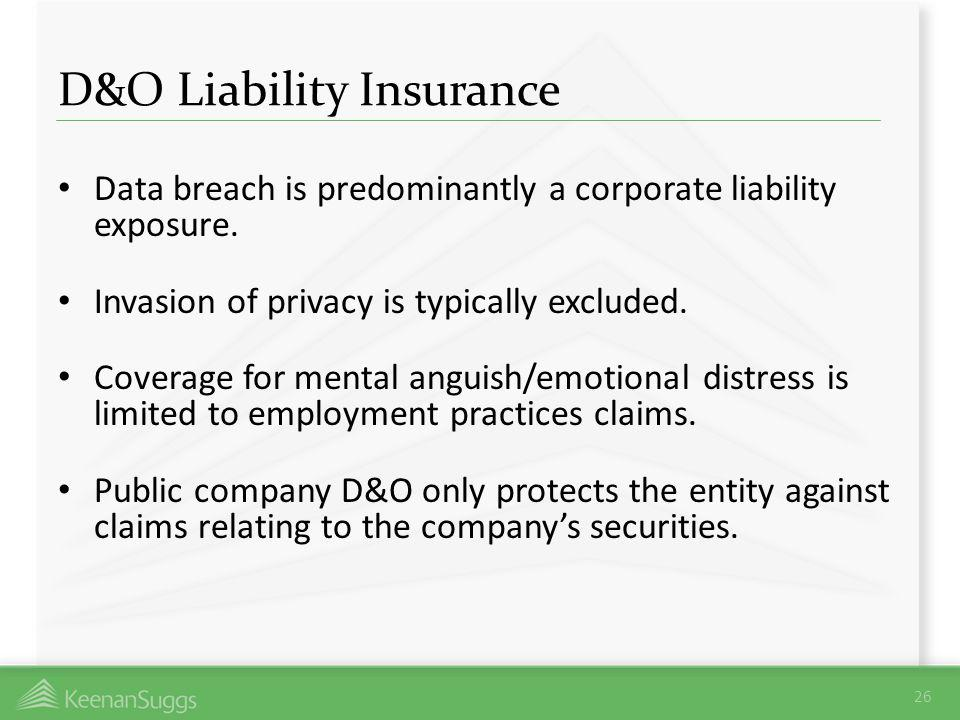 D&O Liability Insurance Data breach is predominantly a corporate liability exposure. Invasion of privacy is typically excluded. Coverage for mental an