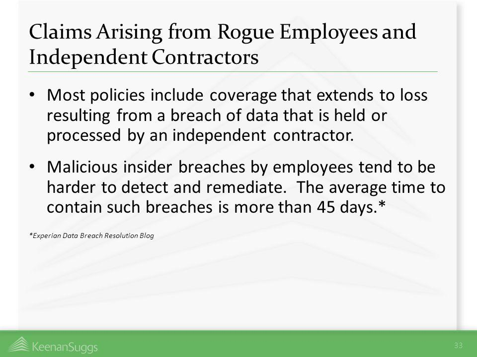 Claims Arising from Rogue Employees and Independent Contractors Most policies include coverage that extends to loss resulting from a breach of data th