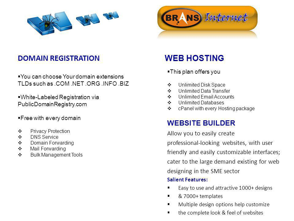 DOMAIN REGISTRATION You can choose Your domain extensions TLDs such as.COM.NET.ORG.INFO.BIZ White-Labeled Registration via PublicDomainRegistry.com Fr