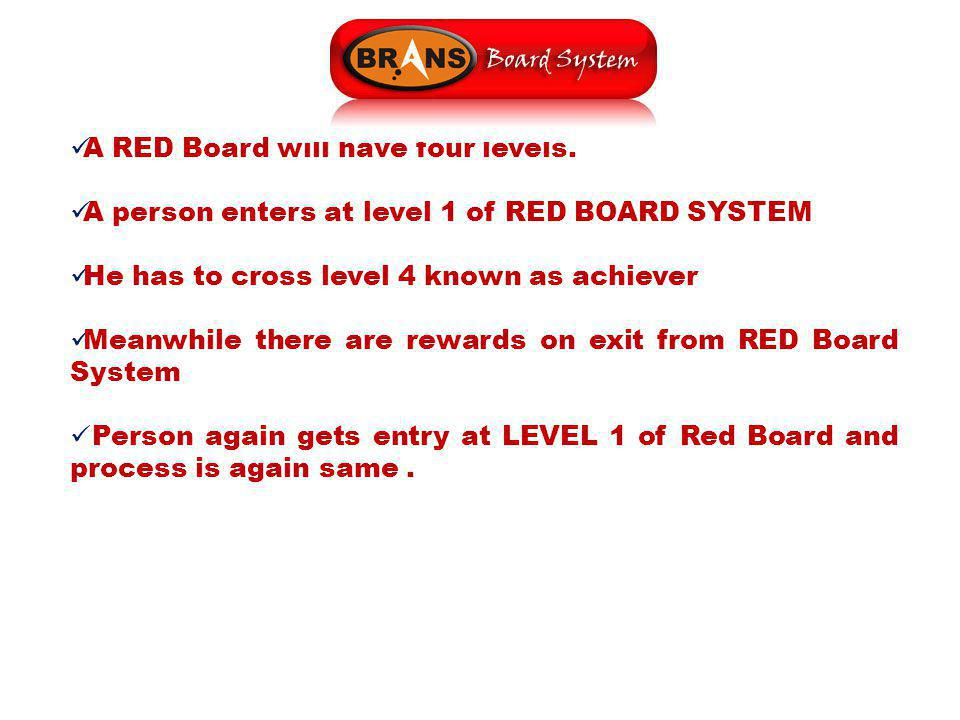 A RED Board will have four levels. A person enters at level 1 of RED BOARD SYSTEM He has to cross level 4 known as achiever Meanwhile there are reward