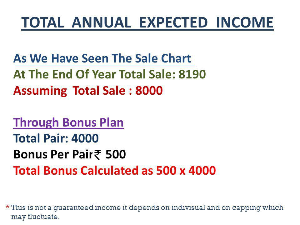 TOTAL ANNUAL EXPECTED INCOME As We Have Seen The Sale Chart At The End Of Year Total Sale: 8190 Assuming Total Sale : 8000 Through Bonus Plan Total Pa