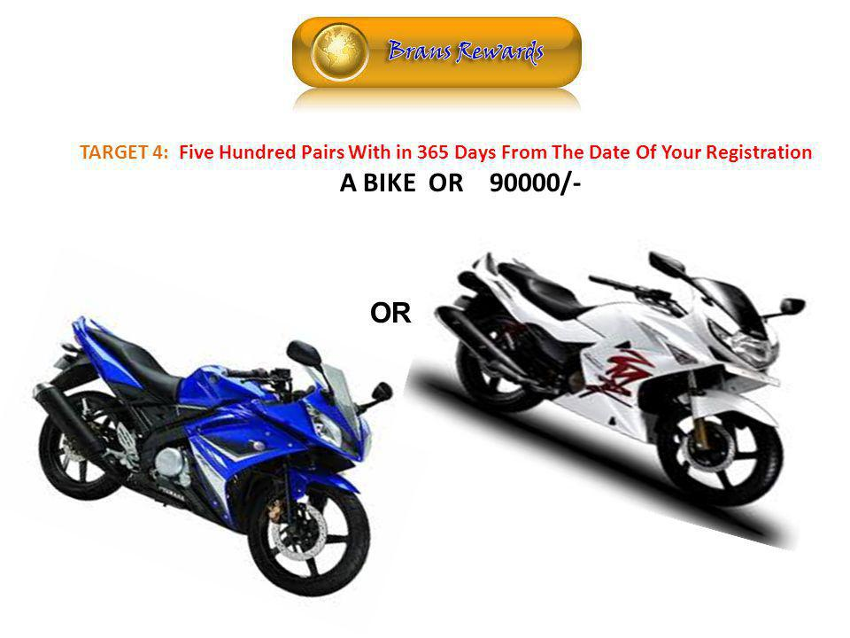 REWARDS TARGET 4: Five Hundred Pairs With in 365 Days From The Date Of Your Registration A BIKE OR 90000/- OR