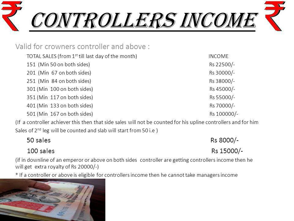 CONTROLLERS INCOME Valid for crowners controller and above : TOTAL SALES (from 1 st till last day of the month) INCOME 151 (Min 50 on both sides) Rs 2