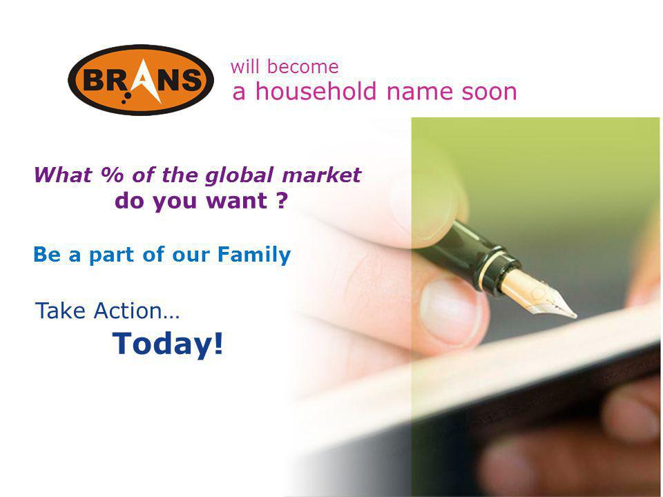 will become Take Action… Today! What % of the global market do you want ? Be a part of our Family a household name soon