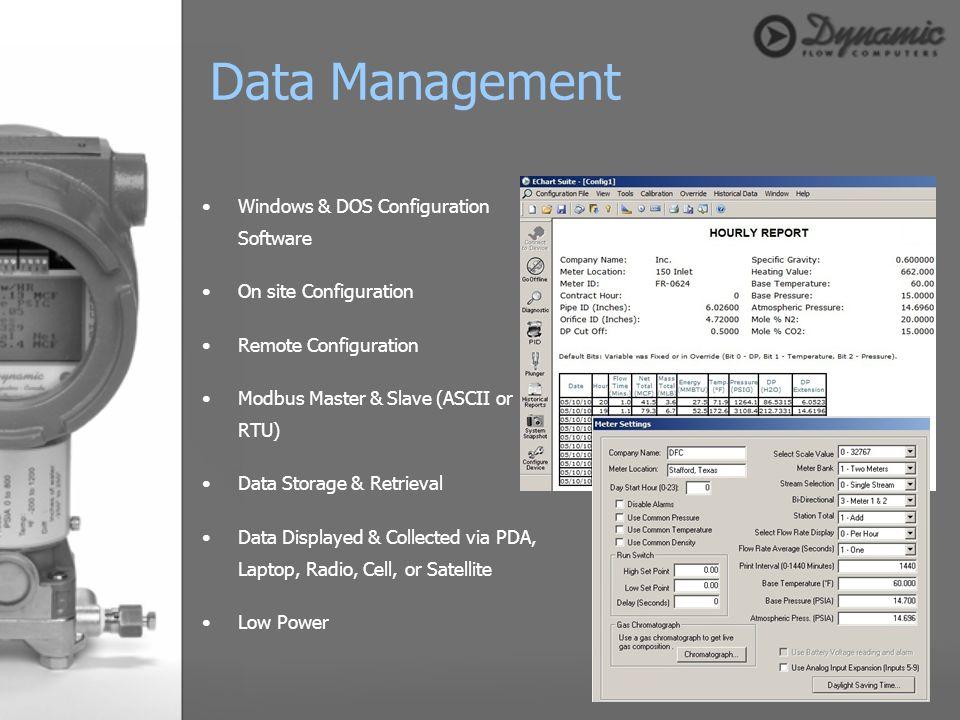 Windows & DOS Configuration Software On site Configuration Remote Configuration Modbus Master & Slave (ASCII or RTU) Data Storage & Retrieval Data Dis