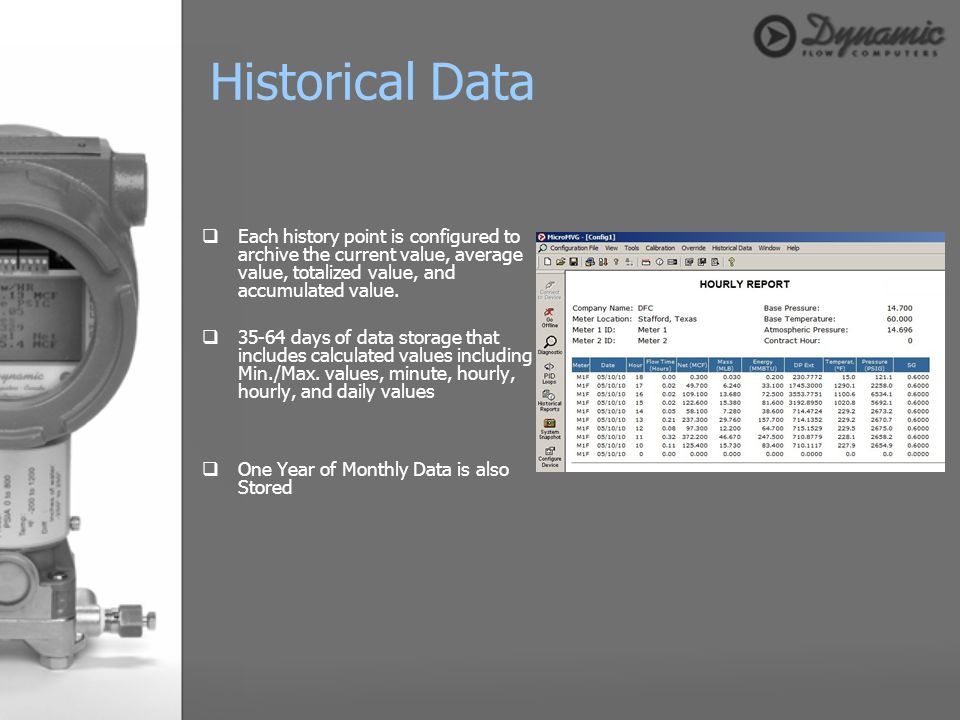 Each history point is configured to archive the current value, average value, totalized value, and accumulated value. 35-64 days of data storage that