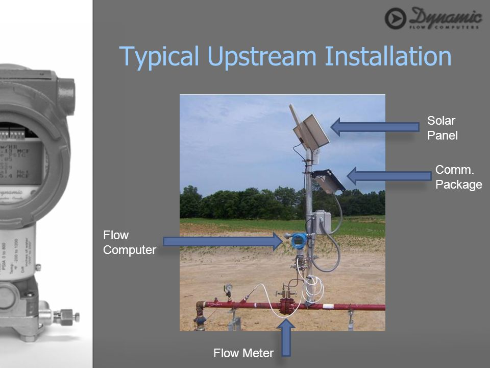 Typical Upstream Installation Flow Meter Flow Computer Solar Panel Comm. Package