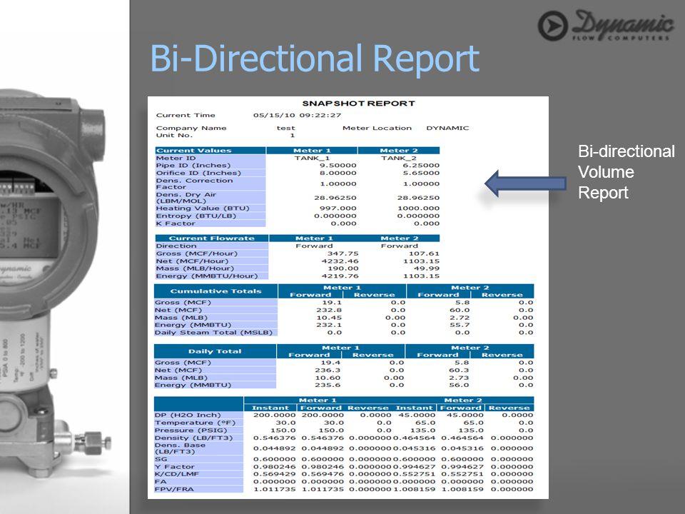 Bi-directional Volume Report Bi-Directional Report