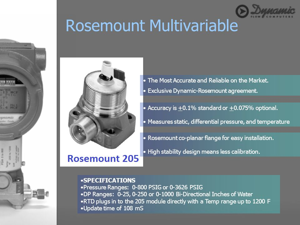 The Most Accurate and Reliable on the Market. Exclusive Dynamic-Rosemount agreement. Accuracy is +0.1% standard or +0.075% optional. Measures static,