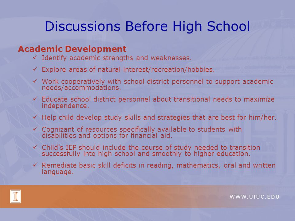 Discussions Before High School Academic Development ~ Middle School/Jr.