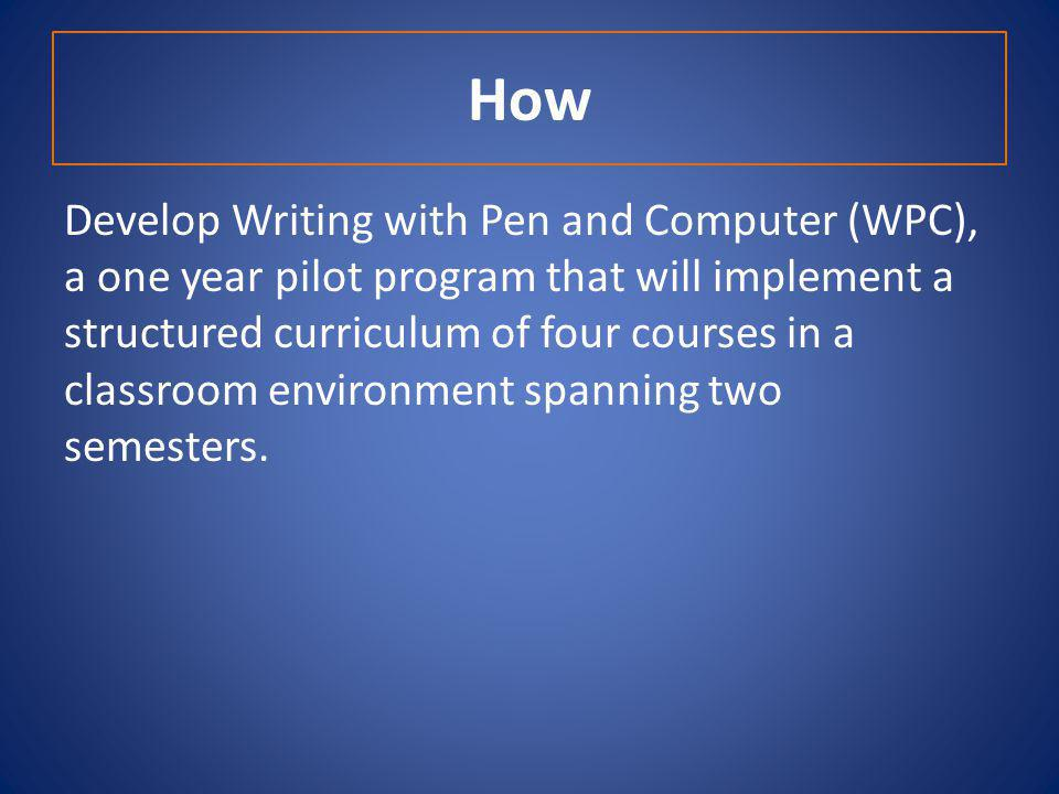 How Develop Writing with Pen and Computer (WPC), a one year pilot program that will implement a structured curriculum of four courses in a classroom environment spanning two semesters.