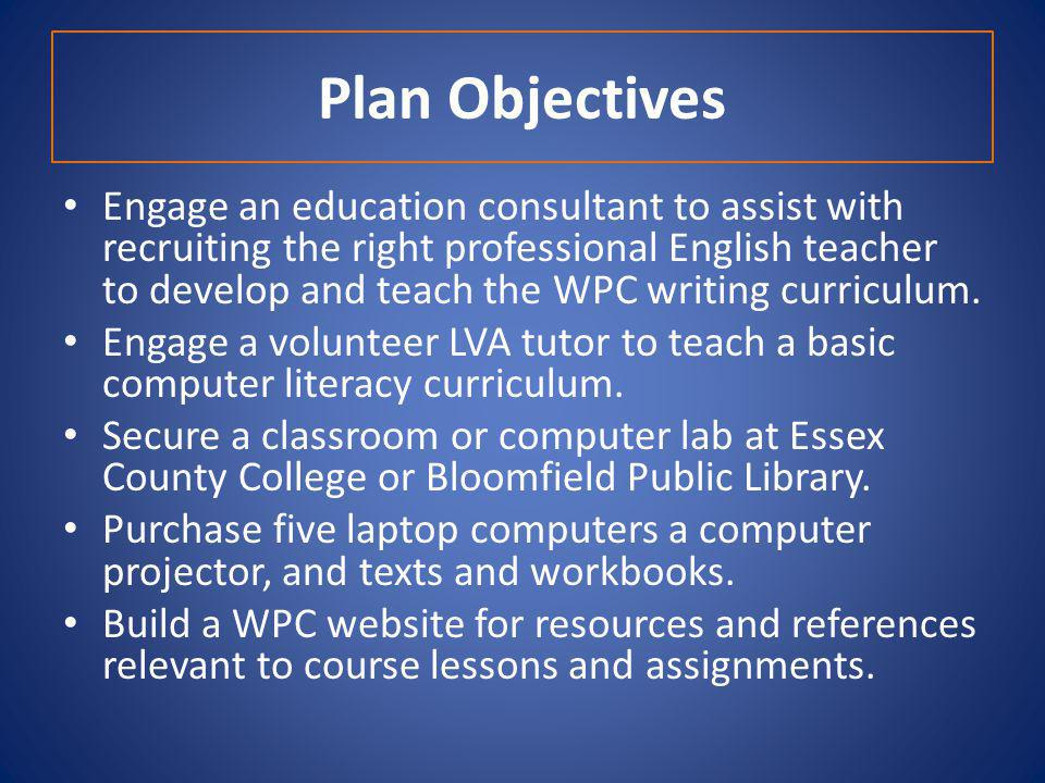 Plan Objectives Engage an education consultant to assist with recruiting the right professional English teacher to develop and teach the WPC writing curriculum.