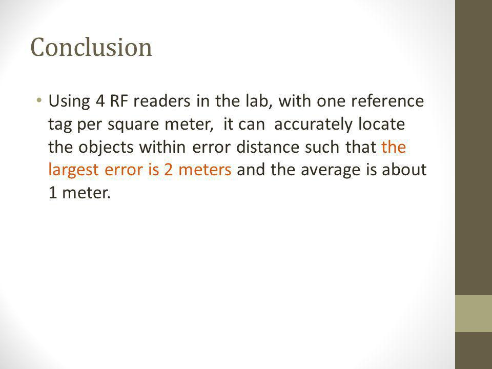 Conclusion Using 4 RF readers in the lab, with one reference tag per square meter, it can accurately locate the objects within error distance such tha