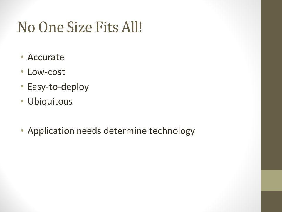 No One Size Fits All! Accurate Low-cost Easy-to-deploy Ubiquitous Application needs determine technology