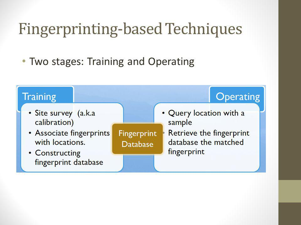 Fingerprinting-based Techniques Two stages: Training and Operating