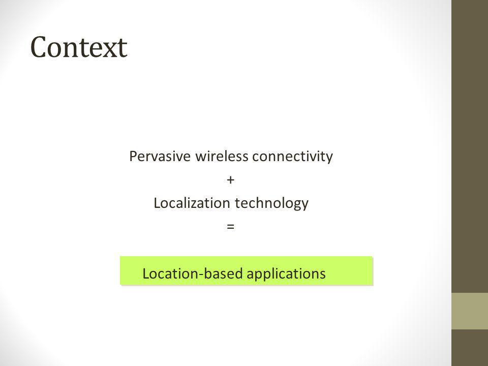 Context Pervasive wireless connectivity + Localization technology = Location-based applications