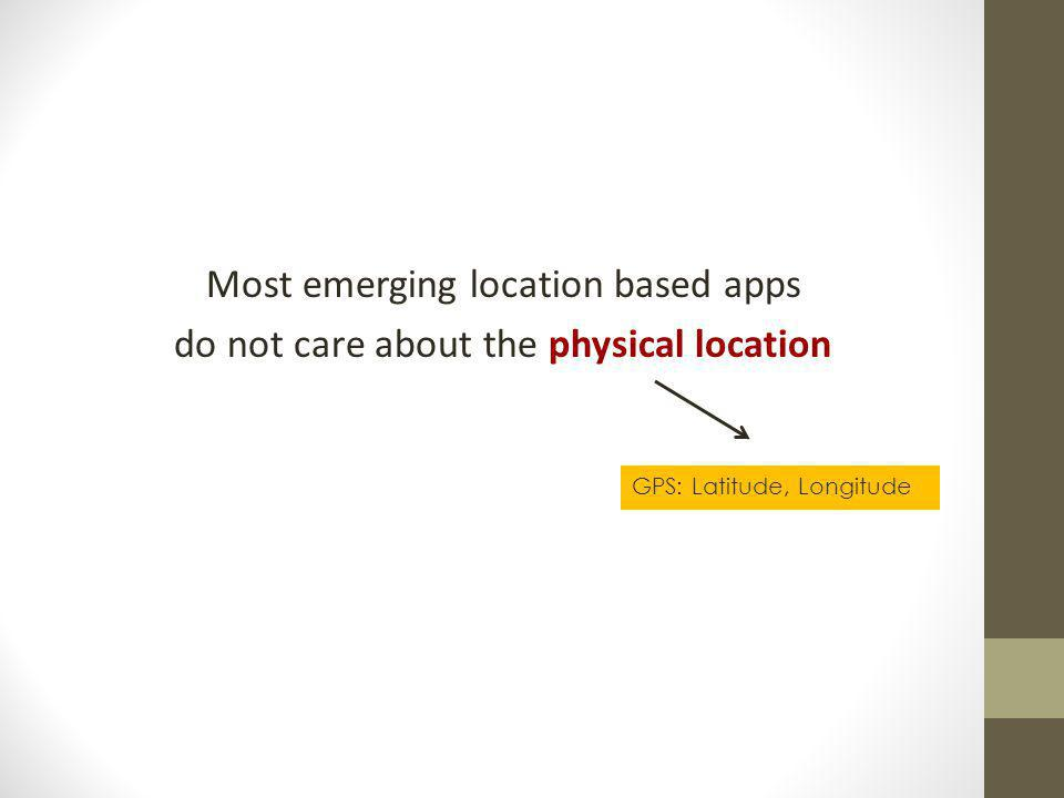 Most emerging location based apps do not care about the physical location GPS: Latitude, Longitude