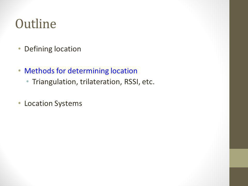 Outline Defining location Methods for determining location Triangulation, trilateration, RSSI, etc. Location Systems