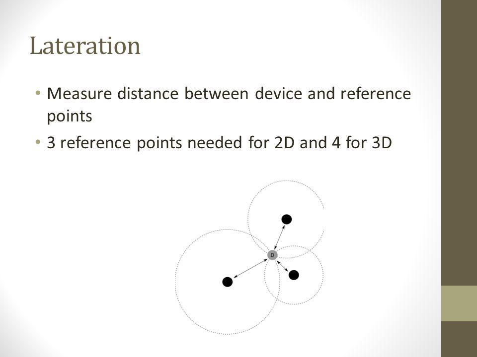 Lateration Measure distance between device and reference points 3 reference points needed for 2D and 4 for 3D