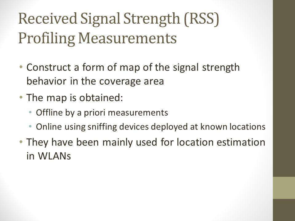 Received Signal Strength (RSS) Profiling Measurements Construct a form of map of the signal strength behavior in the coverage area The map is obtained