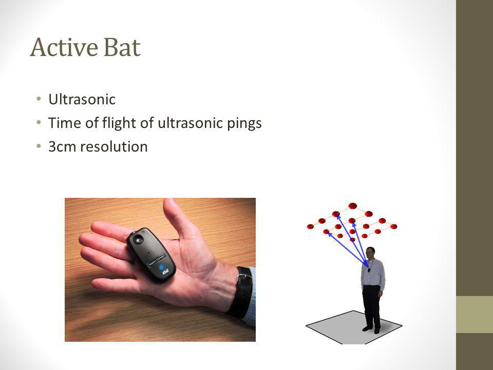 Active Bat Ultrasonic Time of flight of ultrasonic pings 3cm resolution