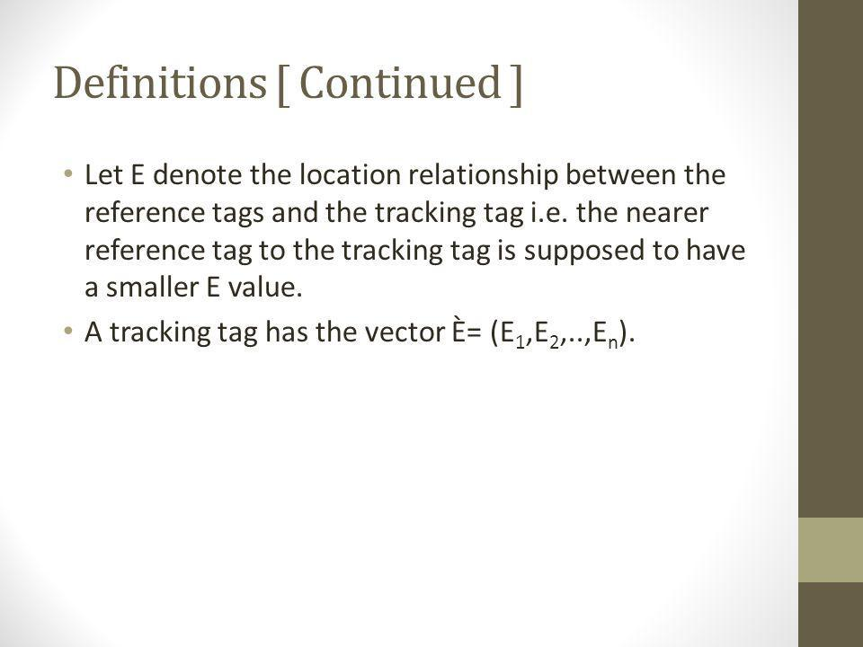 Definitions [ Continued ] Let E denote the location relationship between the reference tags and the tracking tag i.e. the nearer reference tag to the
