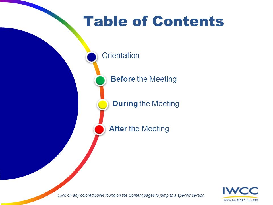 Orientation During the Meeting After the Meeting Before the Meeting Table of Contents Click on any colored bullet found on the Content pages to jump t