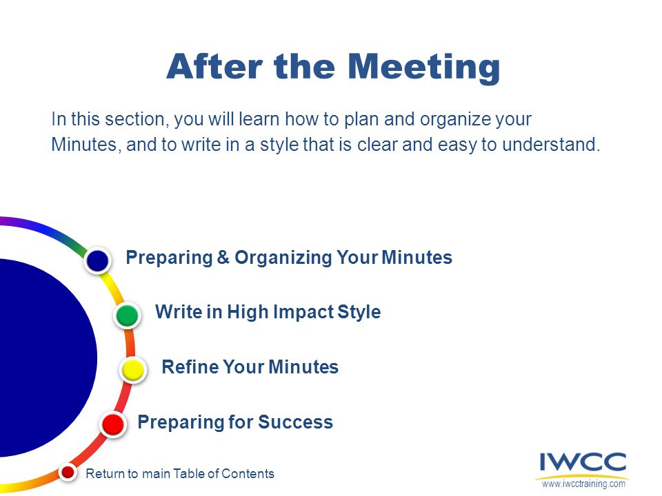 During the Meeting Outcomes Highlights of topics discussed Decisions ...