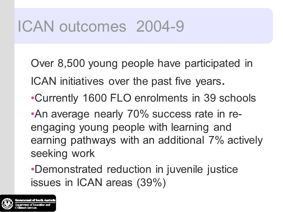 ICAN outcomes 2004-9 Over 8,500 young people have participated in ICAN initiatives over the past five years. Currently 1600 FLO enrolments in 39 schoo
