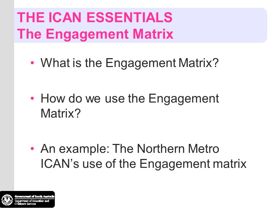 THE ICAN ESSENTIALS The Engagement Matrix What is the Engagement Matrix? How do we use the Engagement Matrix? An example: The Northern Metro ICANs use