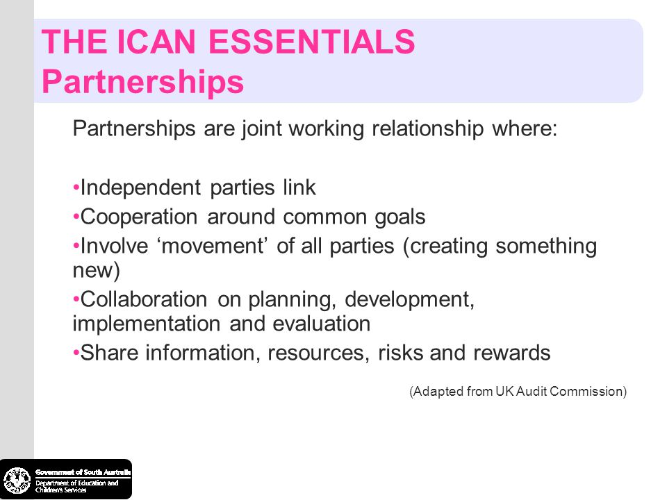 THE ICAN ESSENTIALS Partnerships Partnerships are joint working relationship where: Independent parties link Cooperation around common goals Involve m