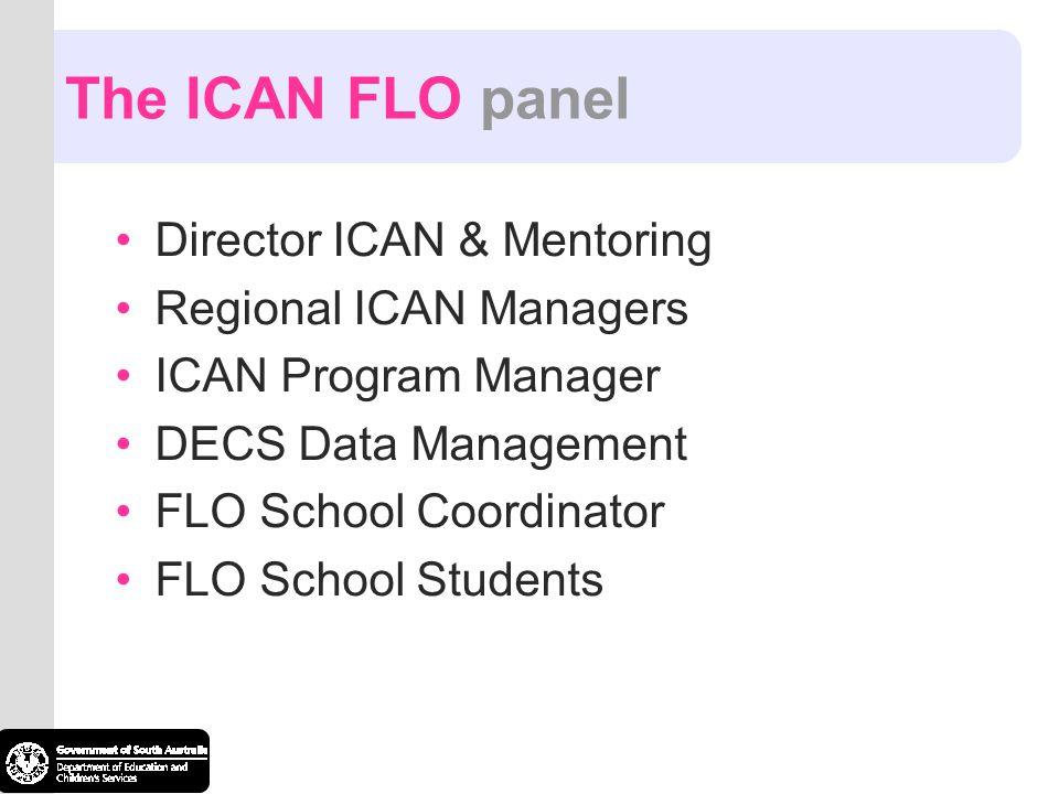 The ICAN FLO panel Director ICAN & Mentoring Regional ICAN Managers ICAN Program Manager DECS Data Management FLO School Coordinator FLO School Studen