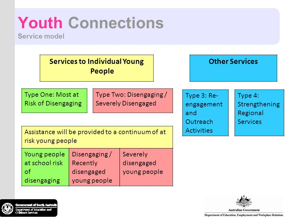 Youth Connections Service model Services to Individual Young People Type One: Most at Risk of Disengaging Type Two: Disengaging / Severely Disengaged