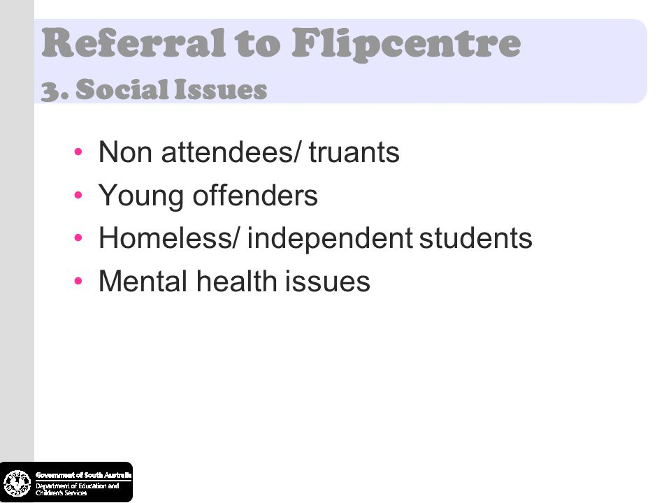 Referral to Flipcentre 3. Social Issues Non attendees/ truants Young offenders Homeless/ independent students Mental health issues