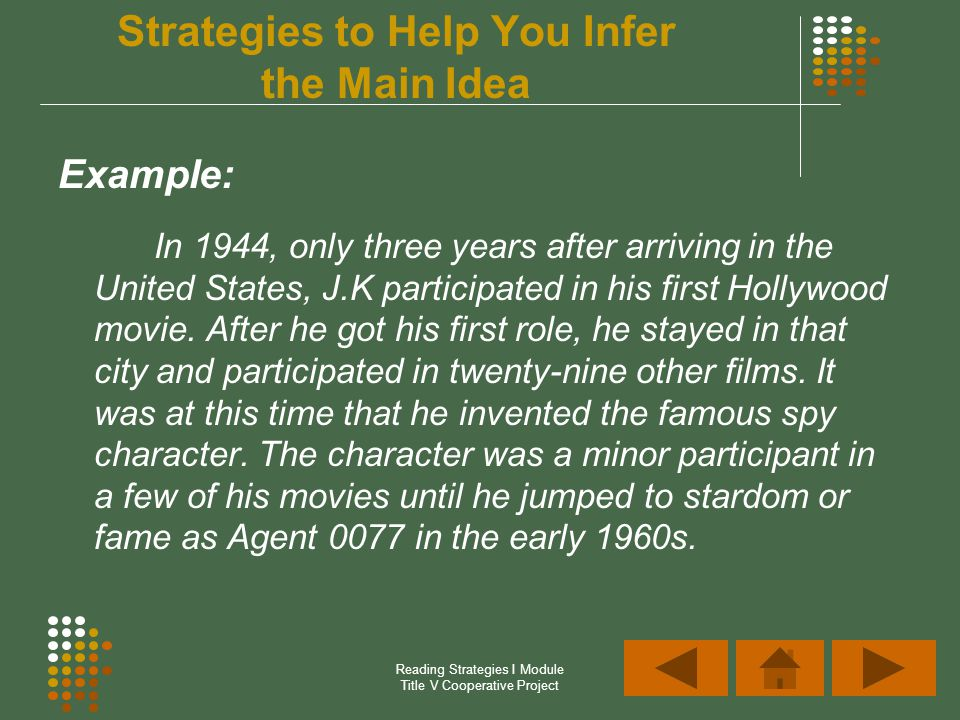 Reading Strategies I Module Title V Cooperative Project Example: In 1944, only three years after arriving in the United States, J.K participated in hi
