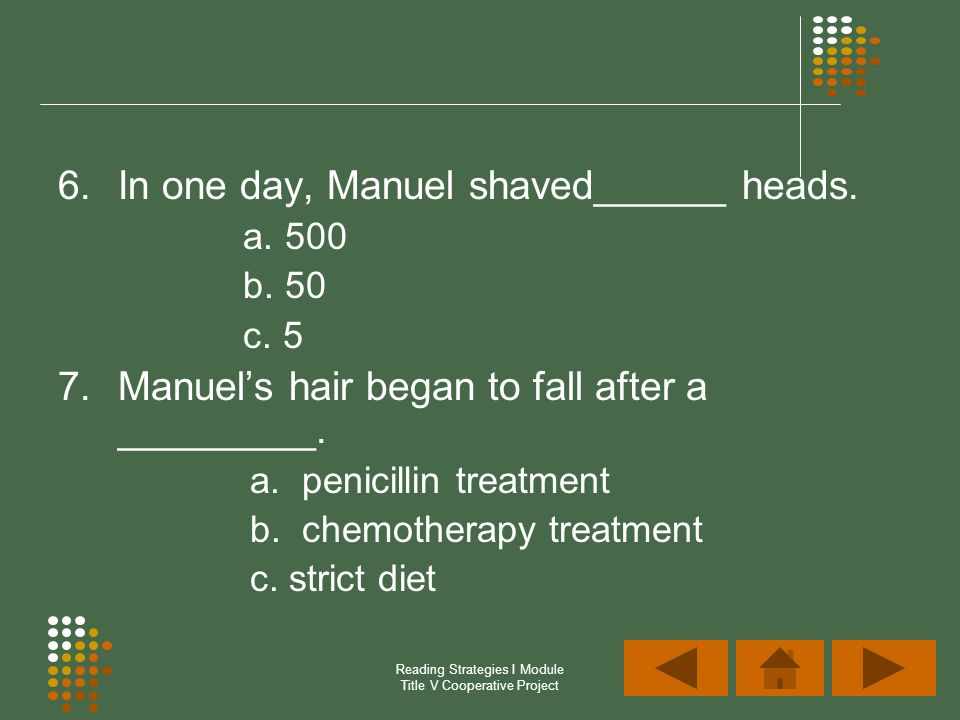Reading Strategies I Module Title V Cooperative Project 6.In one day, Manuel shaved______ heads. a. 500 b. 50 c. 5 7.Manuels hair began to fall after