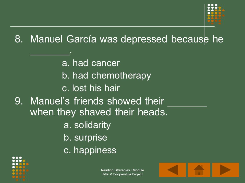 Reading Strategies I Module Title V Cooperative Project 8.Manuel García was depressed because he _______. a. had cancer b. had chemotherapy c. lost hi