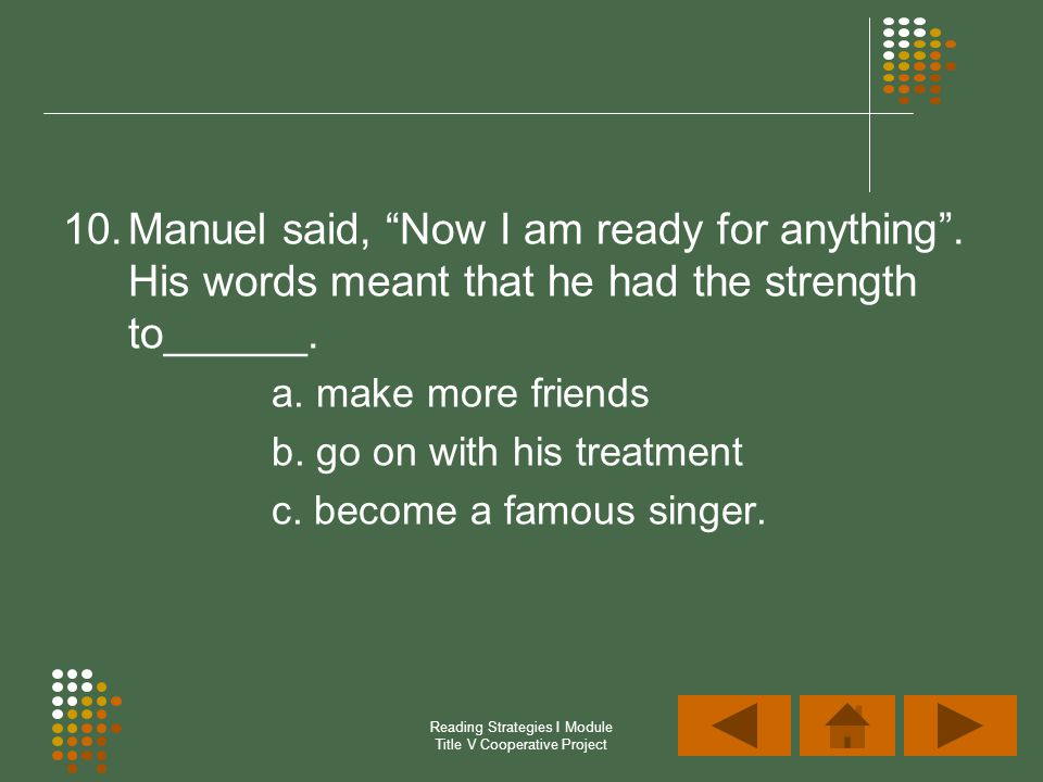 Reading Strategies I Module Title V Cooperative Project 10.Manuel said, Now I am ready for anything. His words meant that he had the strength to______