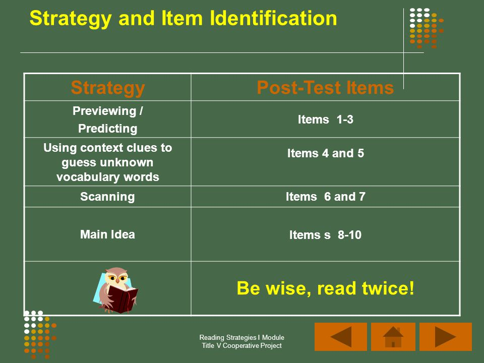 Reading Strategies I Module Title V Cooperative Project Strategy and Item Identification StrategyPost-Test Items Previewing / Predicting Items 1-3 Usi