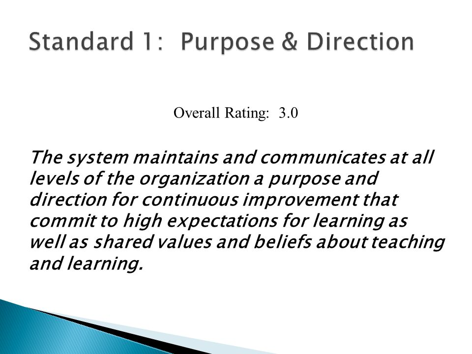 INDICATORS: Level 1Level 2Level 3Level 4 1.1 The system engages in a systematic, inclusive, and comprehensive process to review, revise, and communicate a system-wide purpose for student success.