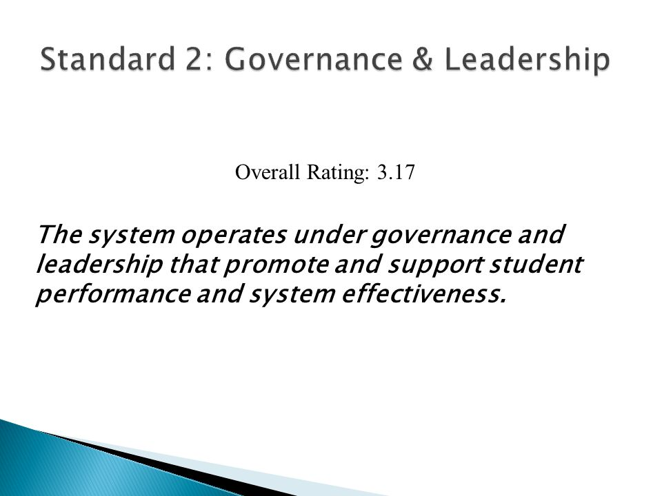 INDICATORS: Level 1Level 2Level 3Level 4 2.1 The governing body establishes policies and supports practices that ensure effective administration of the system and its schools.