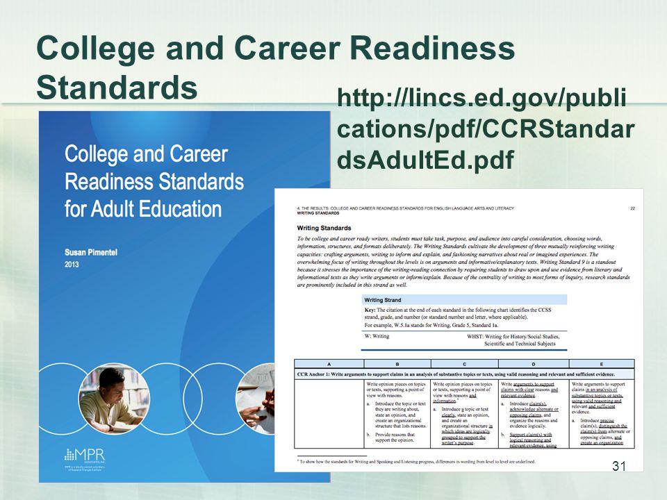 College and Career Readiness Standards 31 http://lincs.ed.gov/publi cations/pdf/CCRStandar dsAdultEd.pdf