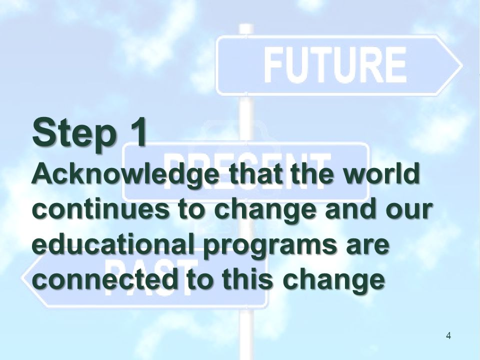 Step 1 Acknowledge that the world continues to change and our educational programs are connected to this change 4
