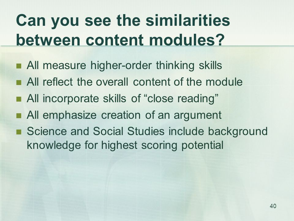 Can you see the similarities between content modules.