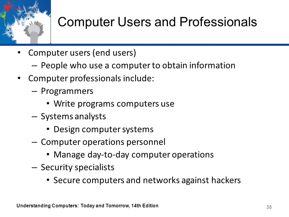 Computer Users and Professionals Computer users (end users) – People who use a computer to obtain information Computer professionals include: – Progra