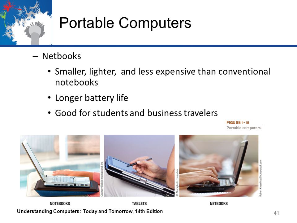 Portable Computers – Netbooks Smaller, lighter, and less expensive than conventional notebooks Longer battery life Good for students and business trav