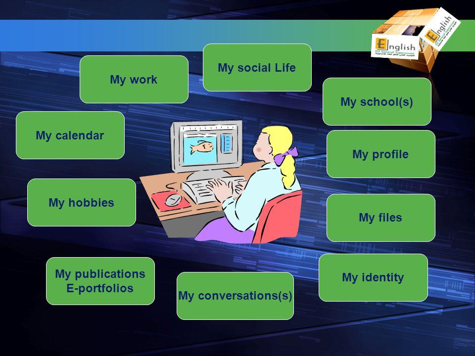 My hobbies My calendar My social Life My school(s) My files My publications E-portfolios My profile My conversations(s) My work My identity