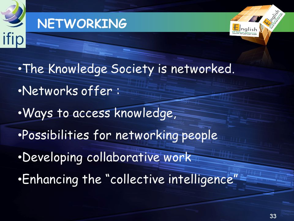 33 The Knowledge Society is networked. Networks offer : Ways to access knowledge, Possibilities for networking people Developing collaborative work En