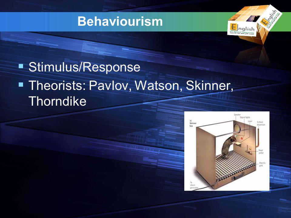 Behaviourism Stimulus/Response Theorists: Pavlov, Watson, Skinner, Thorndike